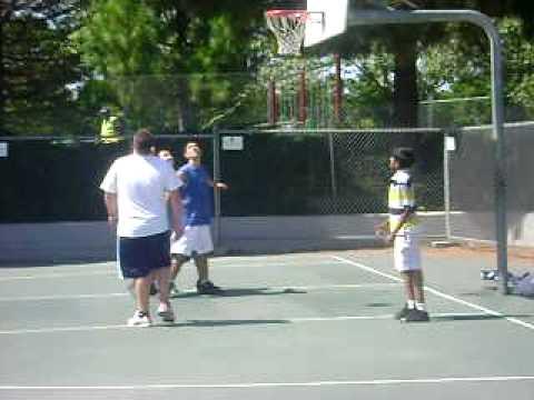 Playing Basketball at Irvington Community Center Park, Fremont, CA
