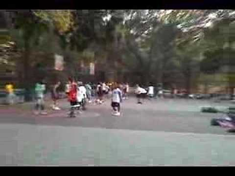 Short clip of bball players at Riverside Park