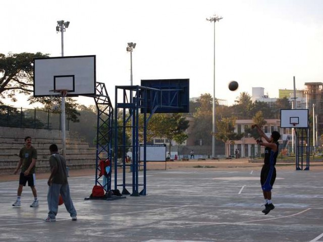The basketball courts at Madhavan Park n Bangalore.