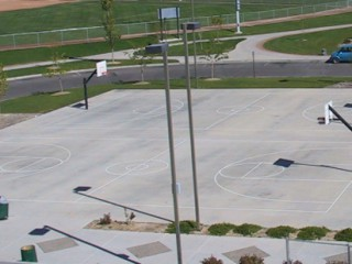 The two lighted basketball courts at Canyon View Park.