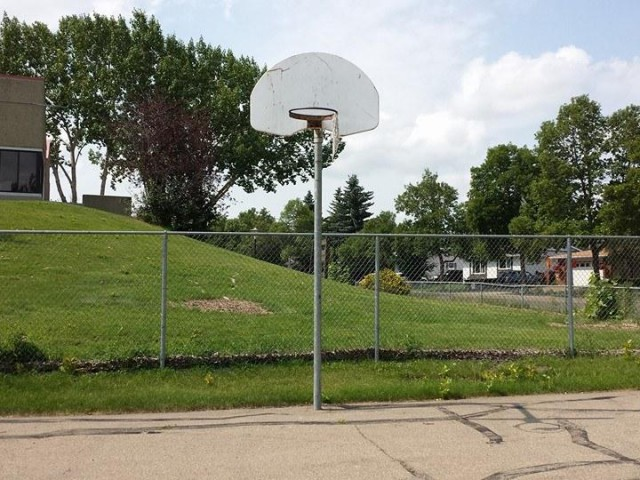 Profile of the basketball court William D. Cuts School, St. Albert, Canada