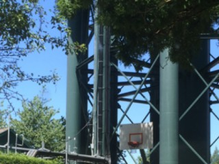 Profile of the basketball court water tower park, Milwaukie, OR, United States