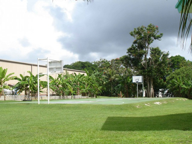 A basketball court on the beautiful island Sapain.