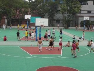 Another view of the basketball courts at Central China Normal University.