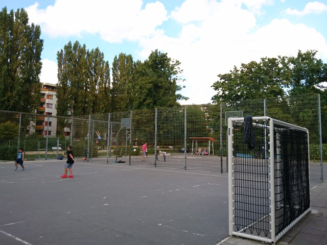 Back of the courts - from the North side