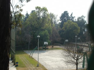 The basketball yards in a beautiful park in Mexico City.