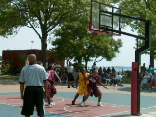 Picture of the Hoops in the Sun tournament at Orchard Beach.