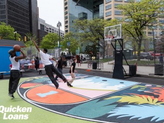 Profile of the basketball court Quicken Loans Courts in Cadillac Square, Detroit, MI, United States