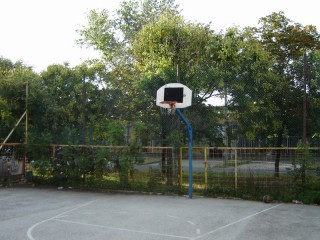 A basketball court in Budapest, Hungary.