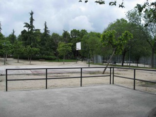 Profile of the basketball court Parque de Caramuel, Madrid, Spain