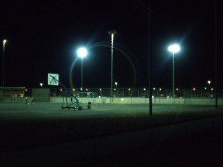 A basketball court at night in Saudi Arabia.