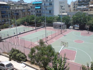 Two basketball courts in Athen, Greece.
