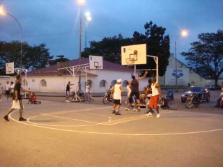 A public basketball court in Cali, Colombia.