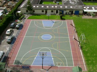 New and shiny basketball court of the Colegio El Camino Academy‎ in Bogota, Colombia.