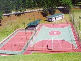 A basketball court in Sao Paulo, Brazil.