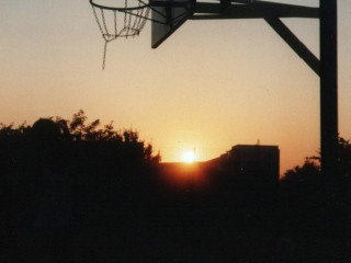 Basketball in Berlin at sunset.