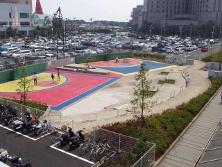 Two small half-courts in front of the New Otani Makuhari Hotel in Tokyo, Japan.