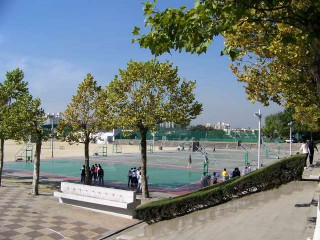 Basketball playground at Inha University in Incheon, South Korea.
