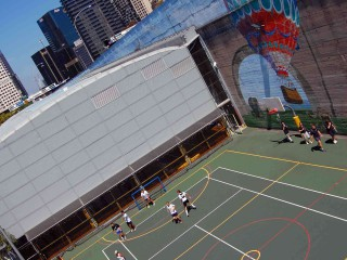 The basketball court under the Sydney Harbour Bridge.