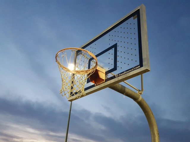 Backboard and rim