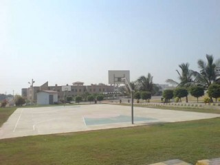 The basketball court at Bahria College in Karachi, Pakistan.