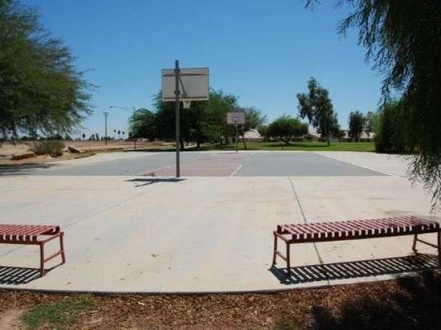 The streetball court at Jeffery Thornton Park