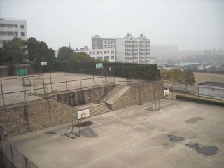 Basketball courts in Wuhan, China.