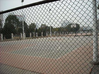 The basketball courts in Ningkang Park, Wuhan.