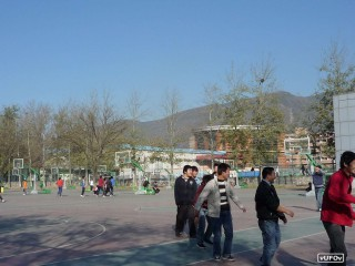 The basketball courts at  Institute of Technology in Beijing, China.