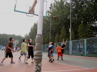 The basketball courts at CUG in Beijing, China.