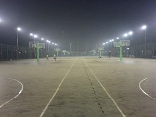 The basketball courts at the Technology and Business University in Beijing.