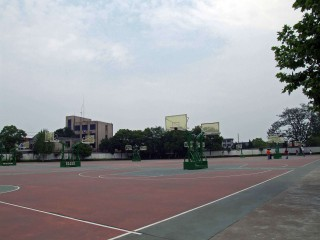 The basketball courts in Tower Park, Yueyang.