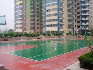 The basketball court at Baqiao Sports Center in Xi'an, China.