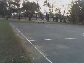 A basketball court in Deoghar, India.