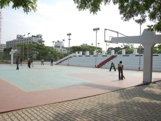The basketball court at Valliamai Engineering College.