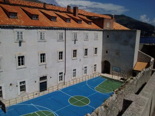 Basketball court in the Old Town of Dubrovnik, Croatia.