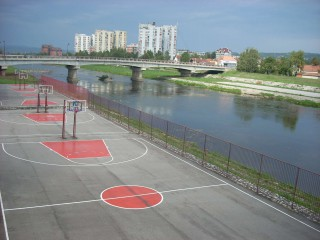 Some courts by the river in Čačak, Serbia.